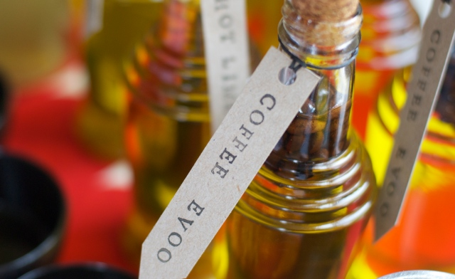 Coffee bean-infused olive oil from the May food swap   Photo by A-K Thordin