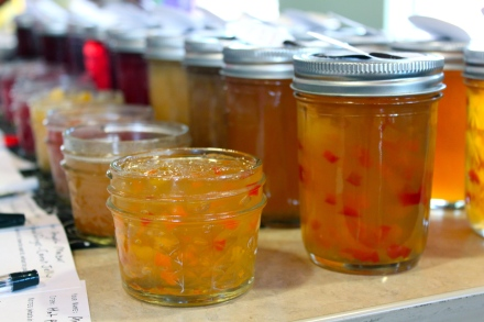 a line of jellies and jams at the October 2011 food swap